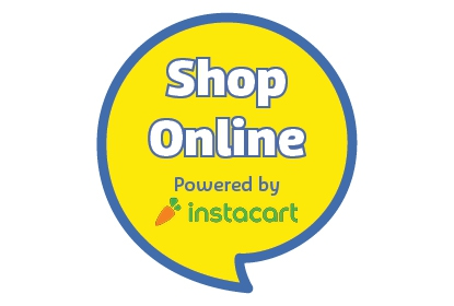 Yellow speech bubble with Home Delivery and Powered by Instacart in it